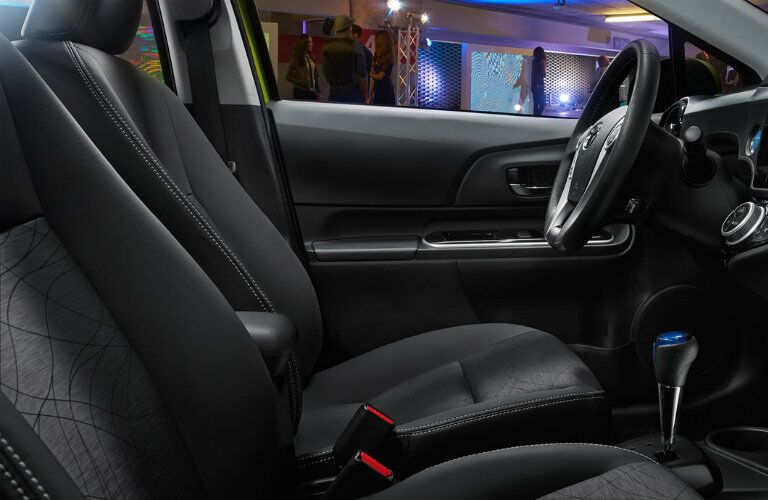 Front seats of the 2016 Toyota Prius c