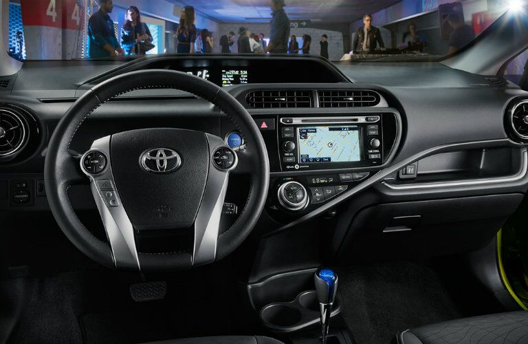 Front dash of the 2016 Toyota Prius c with Entune navigation