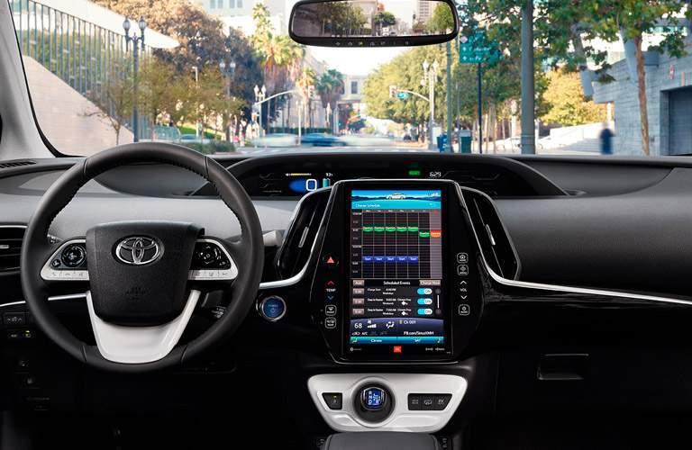 2017 Toyota Prius Prime front interior driver dash and display audio
