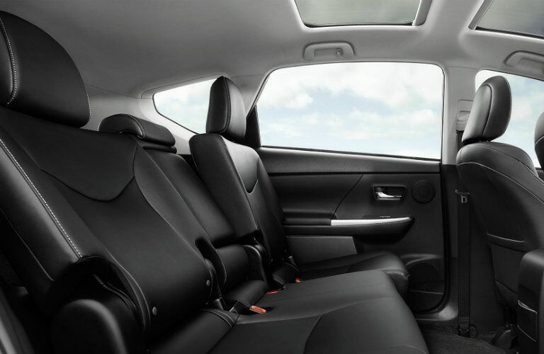 Back seats of 2017 Toyota Prius v