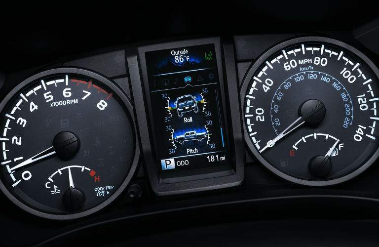 Odometer and screen in the 2018 Toyota Tacoma