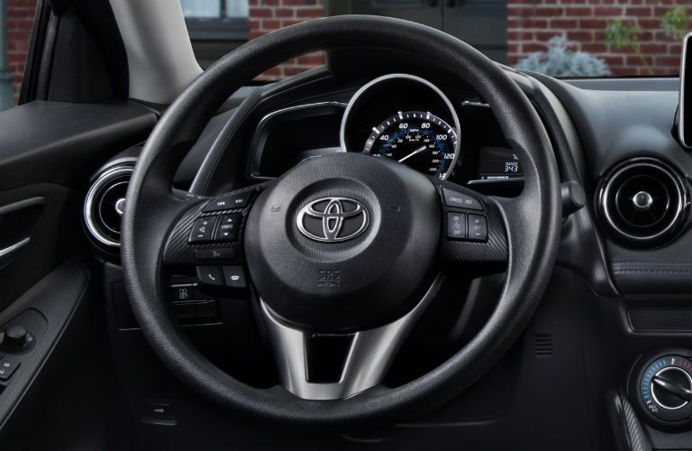 Close up of the steering wheel in the 2018 Toyota Yaris iA