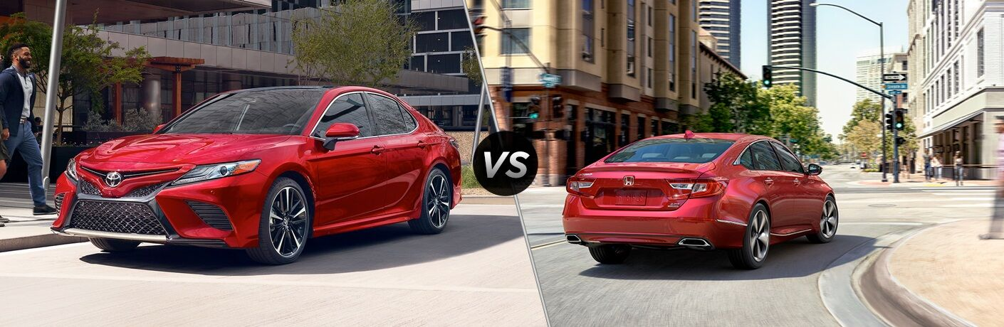 Red 2019 Toyota Camry and red 2019 Honda Accord side by side