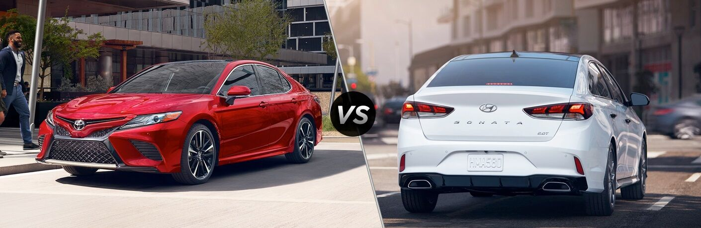 Red 2019 Toyota Camry and white 2019 Hyundai Sonata side by side