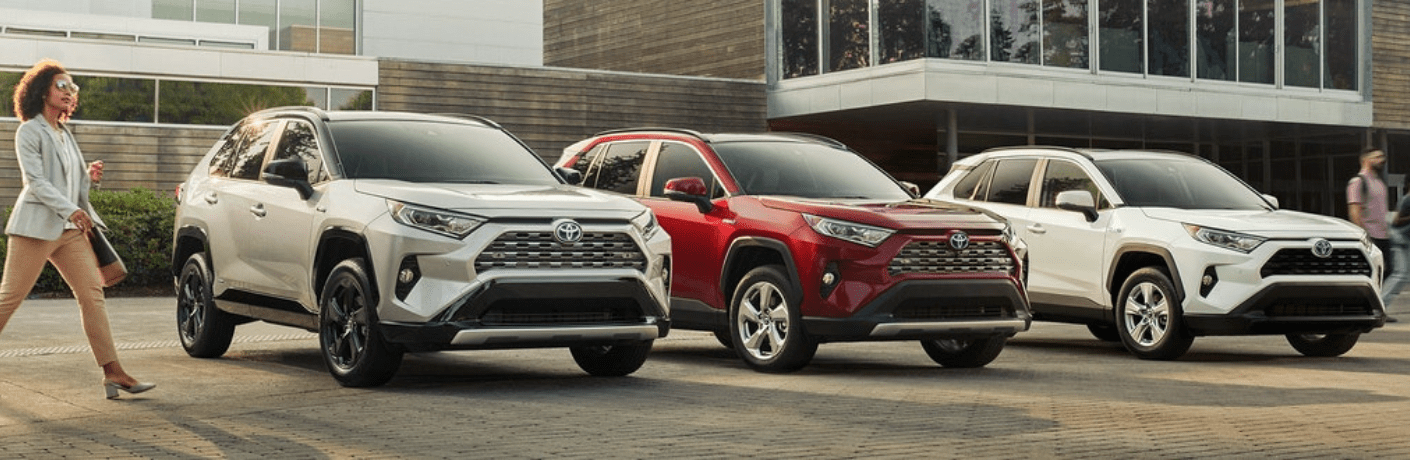 2019 Toyota RAV4 Hybrid parked next to each other