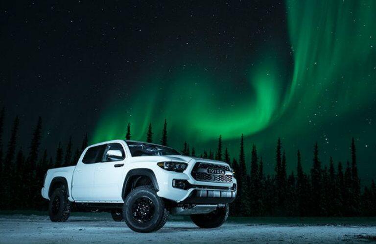 white 2017 Toyota Tacoma TRD Pro with night sky