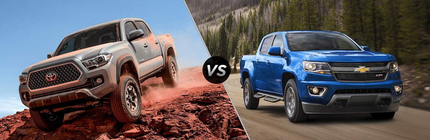 gray 2018 Toyota Tacoma driving off-road vs blue 2018 Chevy Colorado