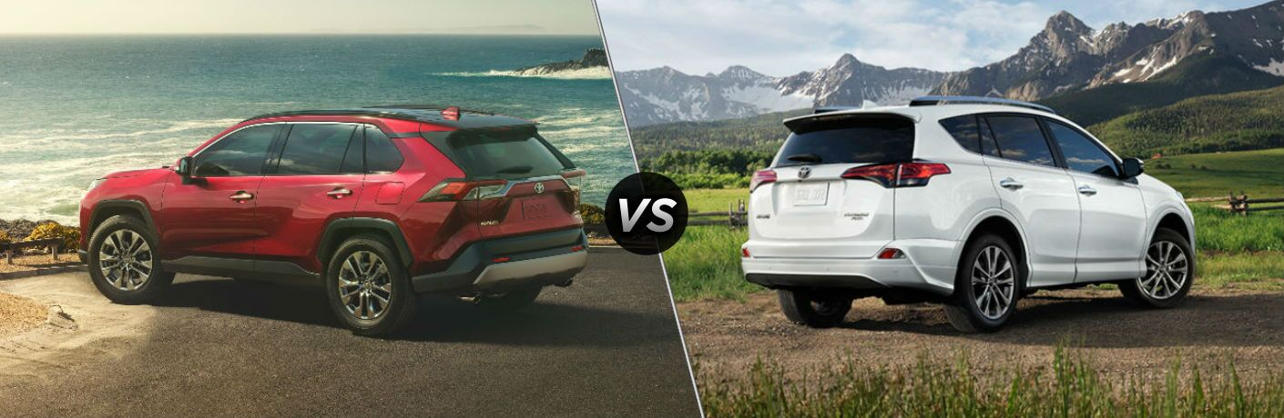 red 2019 Toyota RAV4 set against white 2018 Toyota RAV4