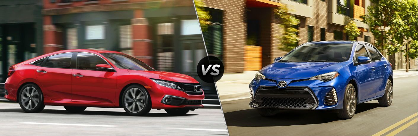"Passenger side exterior view of a red 2019 Honda Civic Sedan on the left ""vs"" front driver side exterior view of a blue 2019 Toyota Corolla in the right"