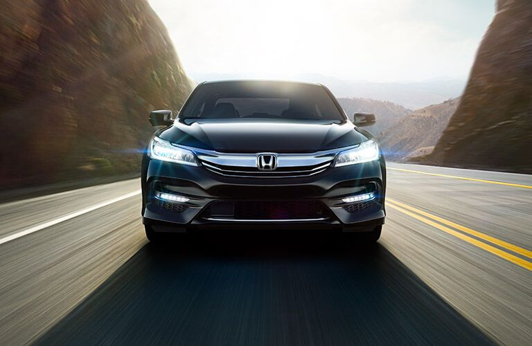 Front View of the 2017 Honda Accord in Blue with headlights On