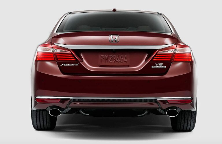 Rear View of Back Tail Lights of 2017 Honda Accord Touring in Red