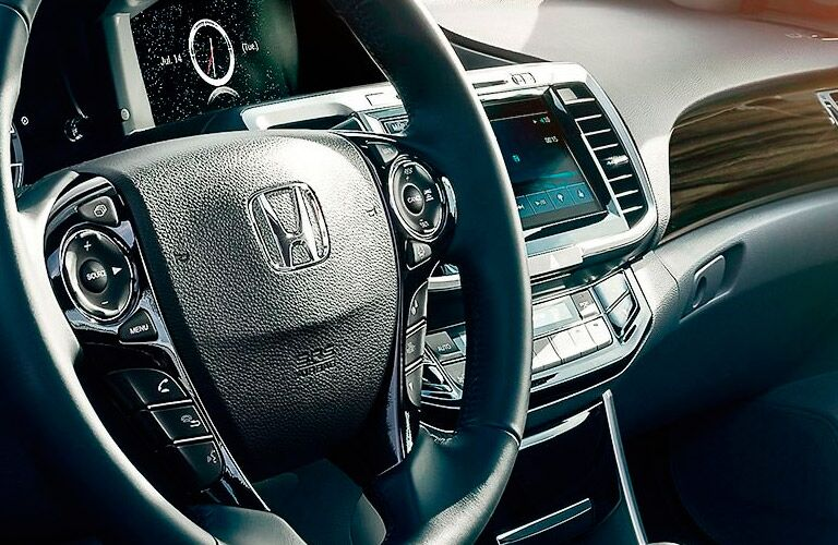 2017 Honda Accord Touring Interior View of the Dashboard and Steering Wheel in Black Leather