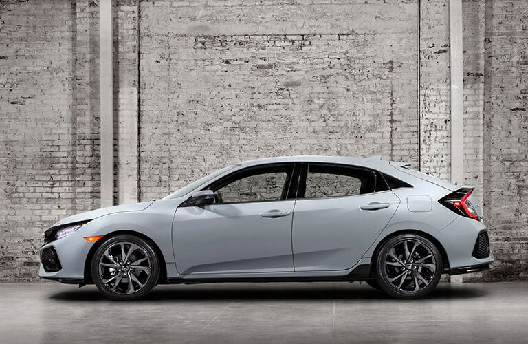 2017 Honda Civic Hatchback Silver Exterior Side View