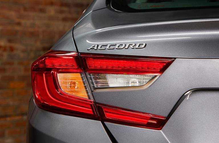 Close up of 2018 Honda Accord taillights and Accord badge