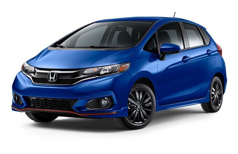 Blue 2018 Honda Fit Sport on white background