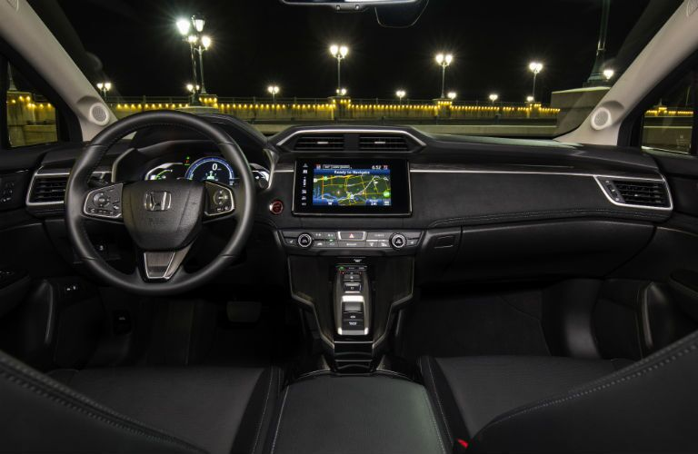 2018 Honda Clarity Plug-In Hybrid interior cabin with steering wheel and dashboard