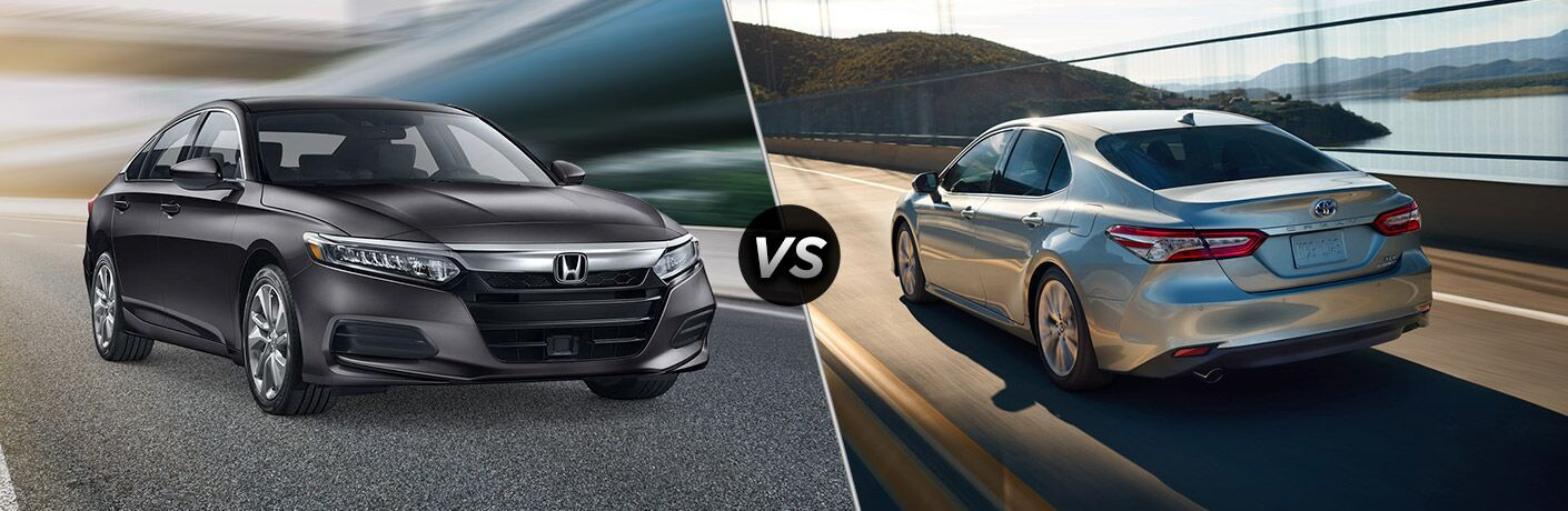 """Front passenger side exterior view of a black 2019 Honda Accord on the left """"vs"""" rear driver side exterior view of a silver 2019 Toyota Camry on the right"""
