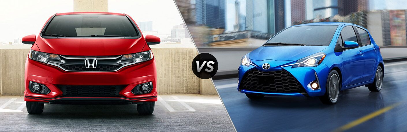 "Front exterior view of a red 2019 Honda Fit ""vs"" front driver side exterior view of a blue 2019 Toyota Yaris"