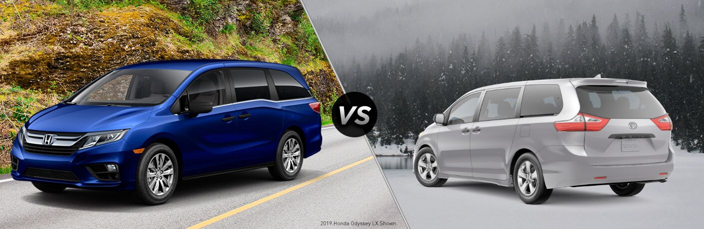 "Driver side exterior view of a blue 2019 Honda Odyssey on the left ""vs"" rear driver side exterior view of a gray 2019 Toyota Sienna on the right"