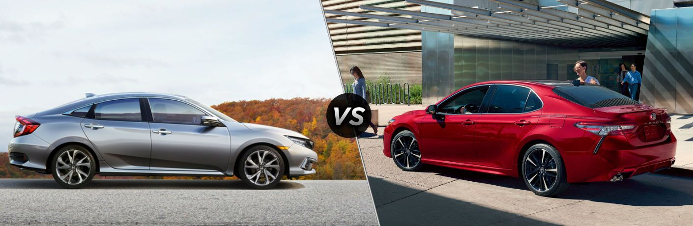 silver honda civic compared to red toyota camry