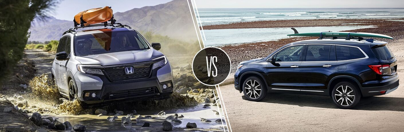 "Front exterior view of a gray 2019 Honda Passport driving through mud on the left ""vs"" driver side exterior view of a blue 2019 Honda Pilot parked beach side on the right"
