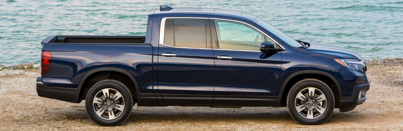 2019 Honda Ridgeline exterior drivers side profile on beach