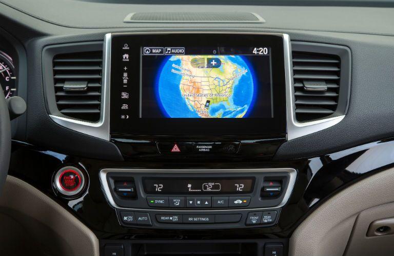 2019 Honda Ridgeline interior front cabin close up of touchscreen