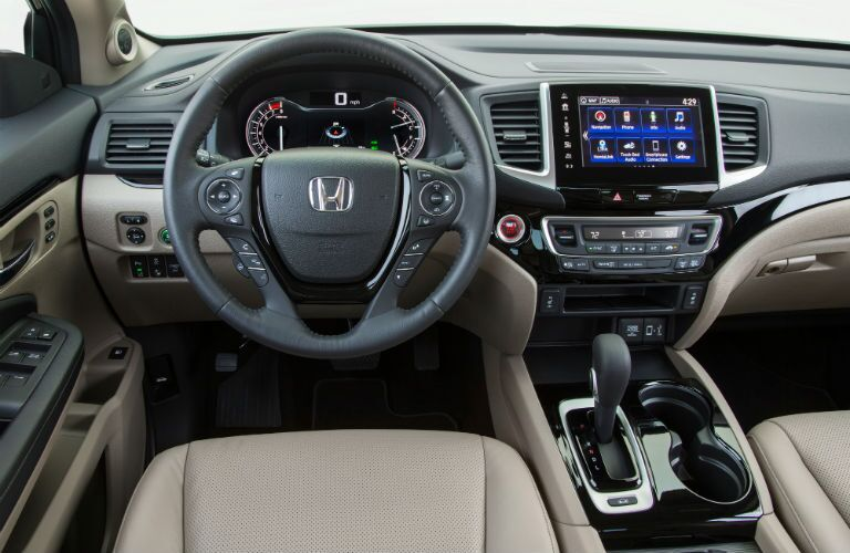 2019 Honda Ridgeline interior front cabin steering wheel and dashboard