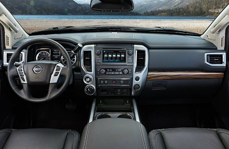 2017 Nissan Titan dash and steering wheel