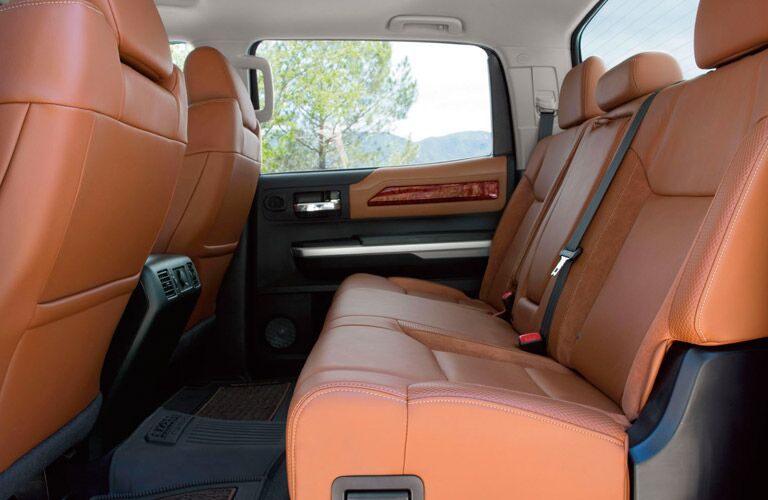 View of Rear Seating in 2017 Toyota Tundra in Tan
