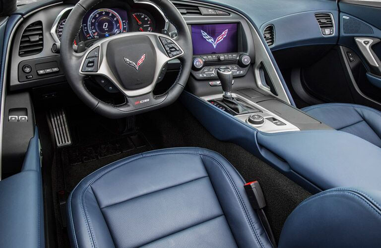 2016 corvette with blue interior leather