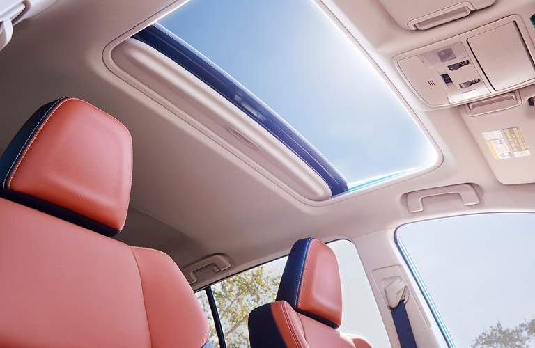 Looking out the moonroof of the 2017 Toyota Rav4