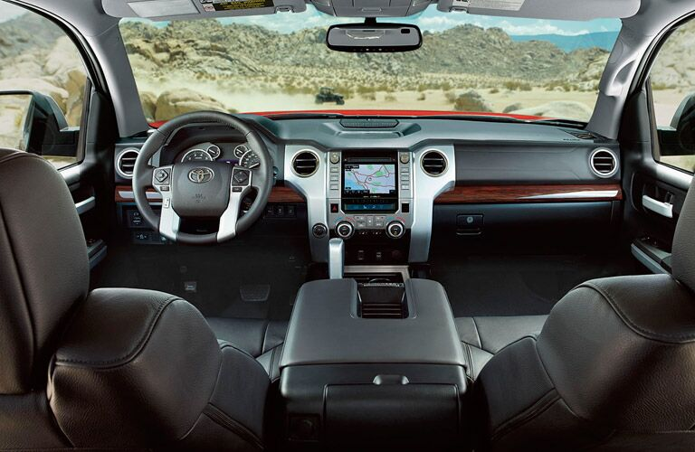 2017 Toyota Tundra Interior View of Front Seats and Dashboard in Black