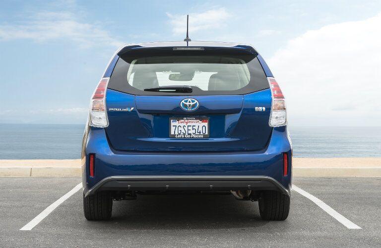 2017 Toyota Prius v exterior rear blue