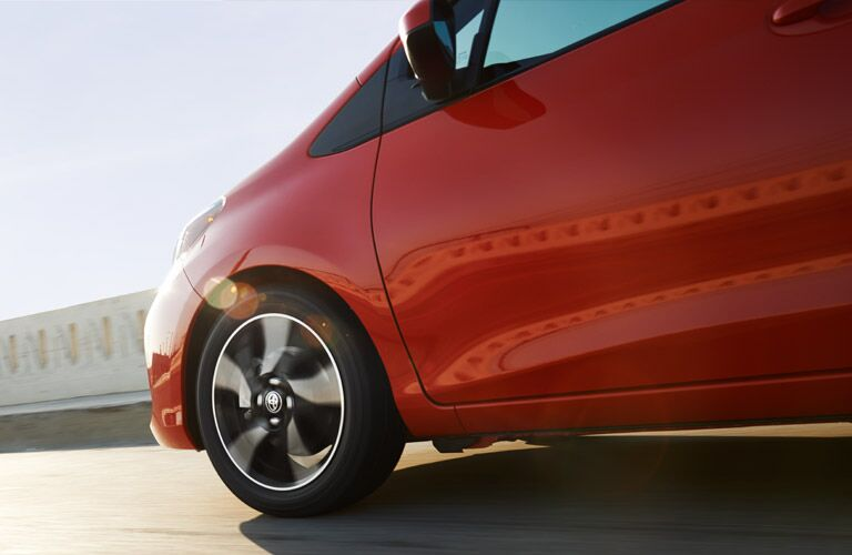 View of the Exterior of 2017 Toyota Yaris in Red Side View of Wheel