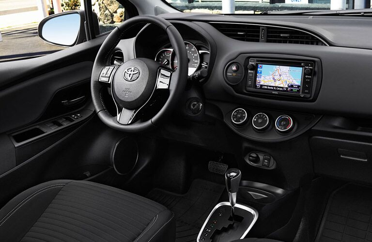 2017 Toyota Yaris Interior View of Steering Wheel and Technology