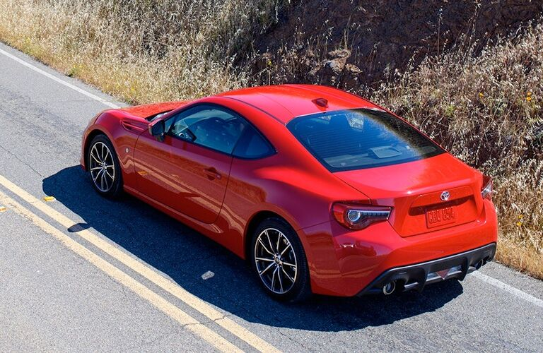 aerial rear view of red 2018 toyota 86