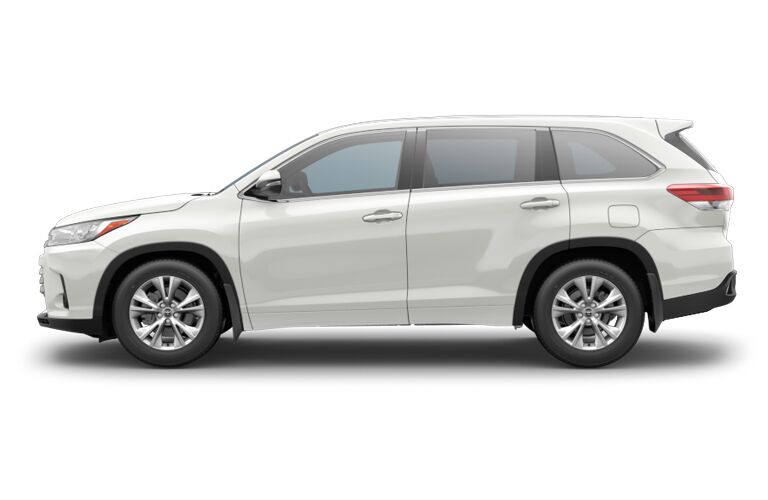 side view of white 2018 toyota highlander against white background