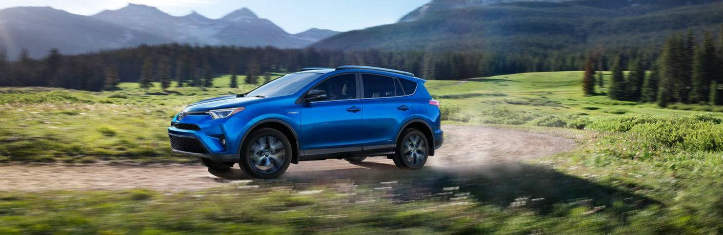 2018 Toyota RAV4 Hybrid blue side view