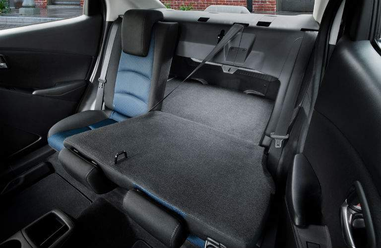 Rear seat folded down in the 2018 Toyota Yaris iA