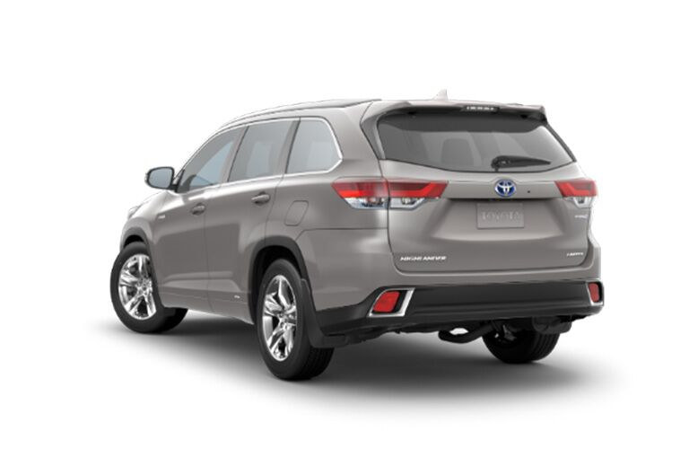 rear and side view of gray 2019 toyota highlander hybrid