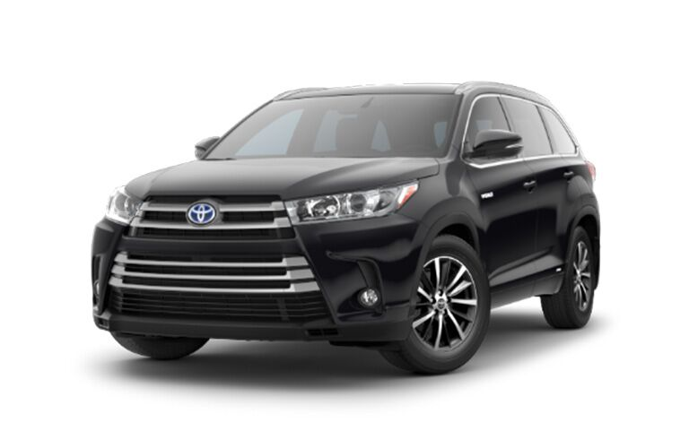 front and side view of black 2019 toyota highlander hybrid