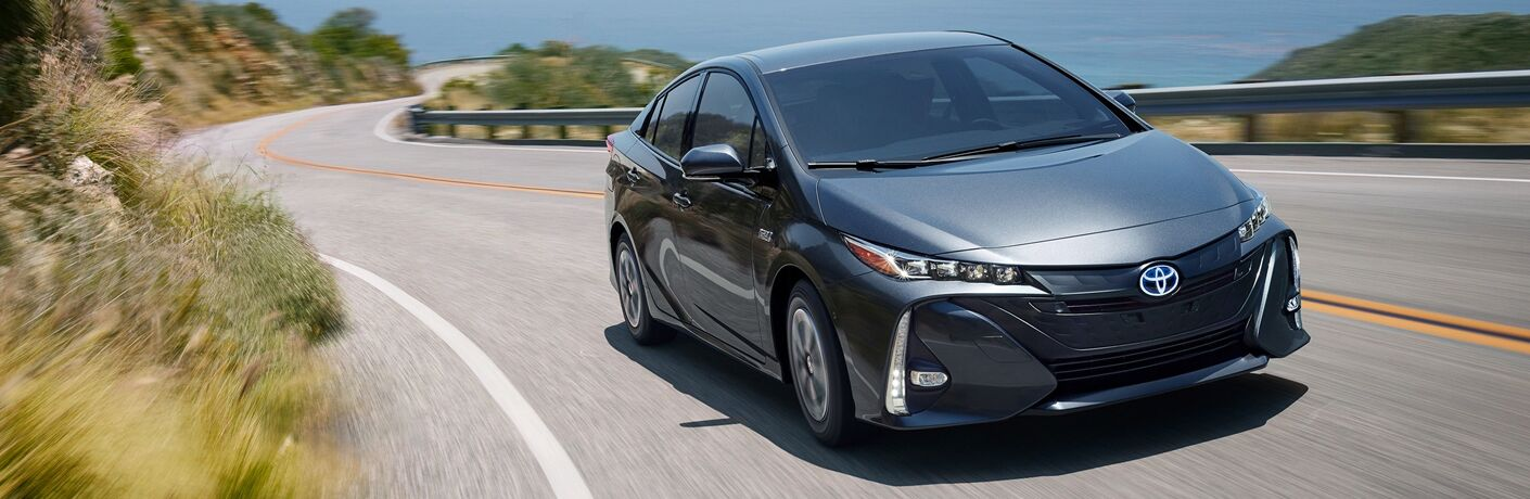 front and side view of gray 2019 toyota prius prime