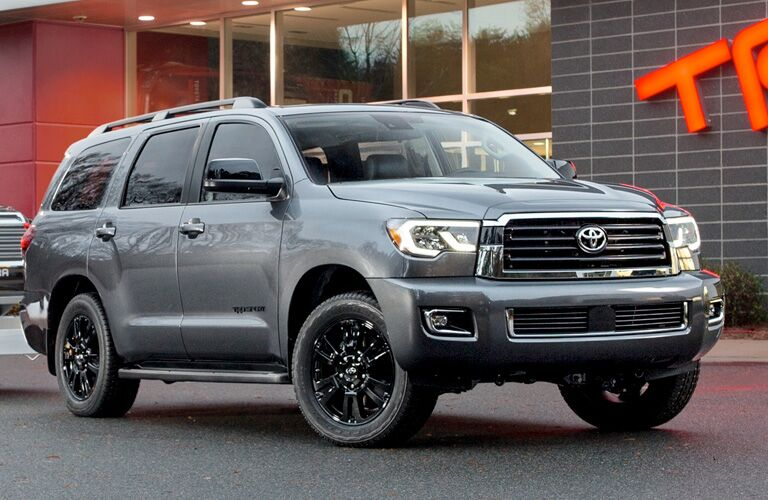 front and side view of gray 2019 toyota sequoia