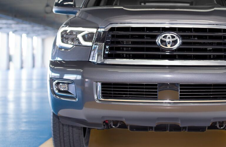 front grille of gray 2019 toyota sequoia