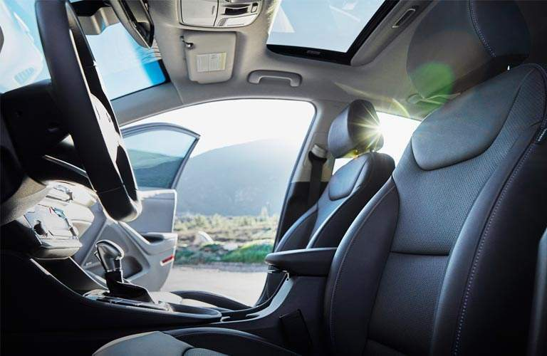 A look through the front interior view of 2017 Hyundai Ioniq Hybrid