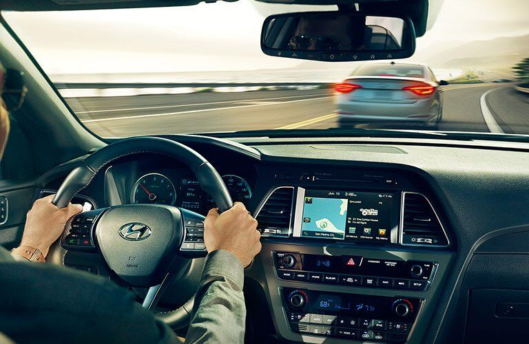 2017 Hyundai Sonata driving with navigation