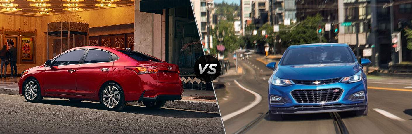 "Driver side exterior view of a red 2018 Hyundai Accent on the left ""vs"" front exterior view of a blue 2018 Chevy Cruze on the right"