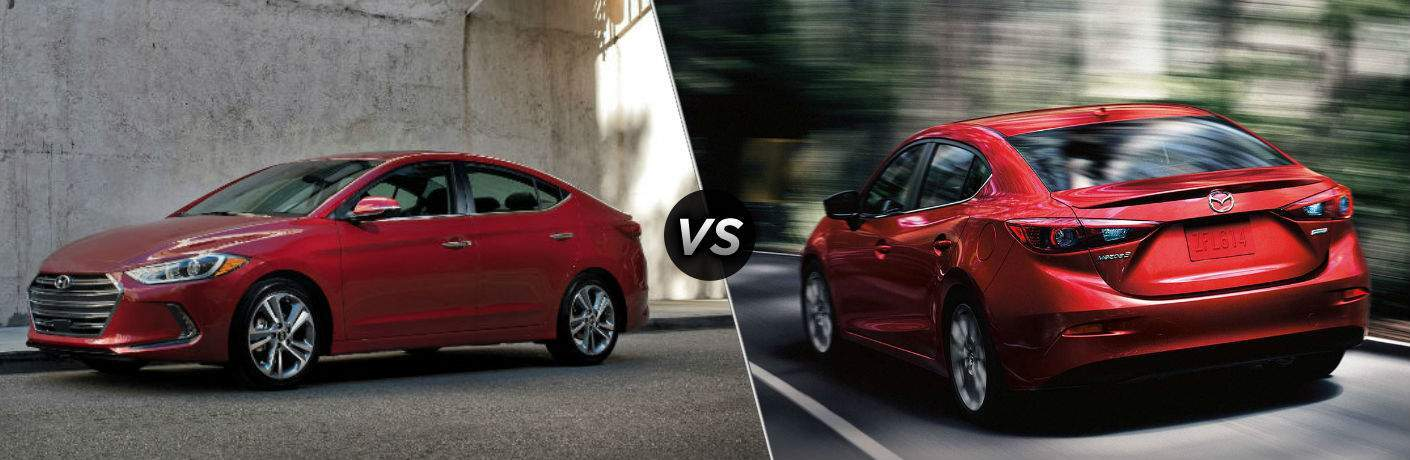 """Driver side exterior view of a red 2018 Hyundai Elantra on the lest """"vs"""" a front exterior view off a red 2018 Mazda3 Sedan on the left"""