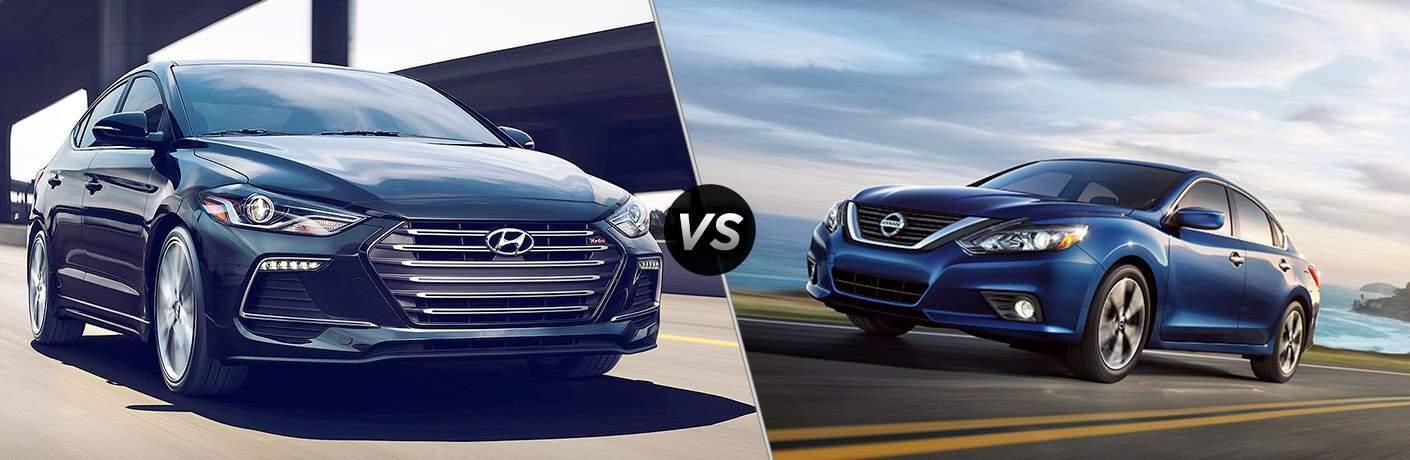 "Gray 2018 Hyundai Elantra on right ""vs"" Blue 2018 Nissan Altima on right"